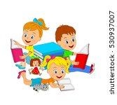 kids boy and girls reading a... | Shutterstock .eps vector #530937007