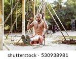 attractive fitness man doing... | Shutterstock . vector #530938981