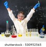 little girl scientist in white... | Shutterstock . vector #530952565