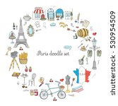 set of hand drawn french icons  ... | Shutterstock .eps vector #530954509