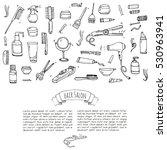 hand drawn doodle hair salon... | Shutterstock .eps vector #530963941