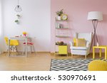 Pink Living Room With White An...