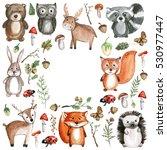 cute woodland animals... | Shutterstock . vector #530977447