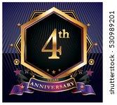 4 years golden anniversary logo ...   Shutterstock .eps vector #530989201