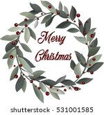 delicate christmas wreath with... | Shutterstock .eps vector #531001585