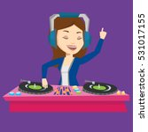 young female dj mixing music on ... | Shutterstock .eps vector #531017155