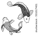hand drawn outline koi fish and ...