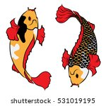 hand drawn colorful koi fish... | Shutterstock .eps vector #531019195