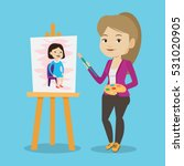young caucasian woman painting... | Shutterstock .eps vector #531020905