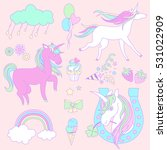pink and white unicorns with a... | Shutterstock .eps vector #531022909