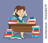 young stressed student studying ... | Shutterstock .eps vector #531028279