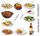 european cuisine set.... | Shutterstock .eps vector #531028657