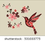 bird and flowers embroidery | Shutterstock .eps vector #531033775