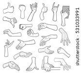 set of hand gestures on white... | Shutterstock . vector #531033991