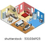 apartment isometric design with ... | Shutterstock .eps vector #531036925