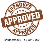 approved. stamp. brown round... | Shutterstock .eps vector #531043159