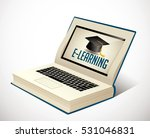 elearning   book as laptop ... | Shutterstock .eps vector #531046831