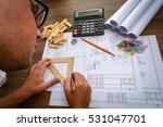 man architect draws a plan ... | Shutterstock . vector #531047701