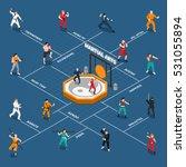 isometric flowchart with people ... | Shutterstock .eps vector #531055894