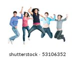 happy active group of young... | Shutterstock . vector #53106352