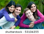 happy young couples smiling and ... | Shutterstock . vector #53106355