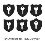 shield with key icon vector set  | Shutterstock .eps vector #531069484