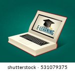 elearning   book as laptop ... | Shutterstock .eps vector #531079375