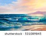 morning on sea  wave ... | Shutterstock . vector #531089845