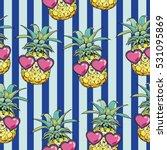 pineapple with glasses   vector ...   Shutterstock .eps vector #531095869