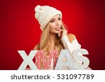 Small photo of X-mas woman over red background