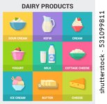 dairy products icons collection.... | Shutterstock .eps vector #531099811