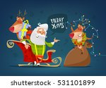 happy santa claus with sweet... | Shutterstock .eps vector #531101899