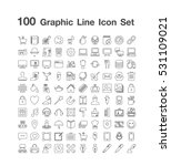 100 graphics line icon set