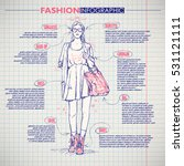 scheme  sketch of  fashion girl.... | Shutterstock .eps vector #531121111