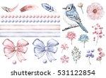 Set Cute Watercolor Elements Of ...