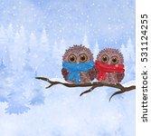 winter watercolor christmas... | Shutterstock .eps vector #531124255
