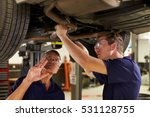 mechanic and male trainee... | Shutterstock . vector #531128755