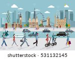 london skyline and business... | Shutterstock .eps vector #531132145