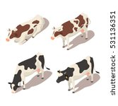 Isometric 3d Vector Set Of Cow...