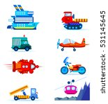 transport set. vector flat... | Shutterstock .eps vector #531145645