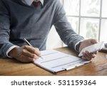 man writing insurance... | Shutterstock . vector #531159364