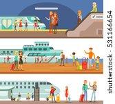 smiling people boarding... | Shutterstock .eps vector #531166654