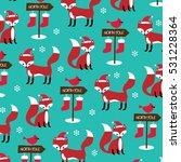 christmas fox pattern    Shutterstock .eps vector #531228364