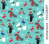 christmas cats and dogs pattern ...   Shutterstock .eps vector #531228397