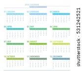 calendar 2018 year grid design... | Shutterstock .eps vector #531242521