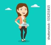caucasian woman holding in... | Shutterstock .eps vector #531251815