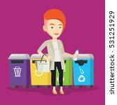 caucasian woman throwing away... | Shutterstock .eps vector #531251929