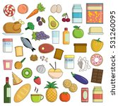 xxl collection of flat food and ... | Shutterstock .eps vector #531260095