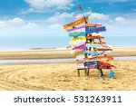 wooden post at beach on summer... | Shutterstock . vector #531263911