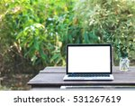 mockup image of laptop with... | Shutterstock . vector #531267619